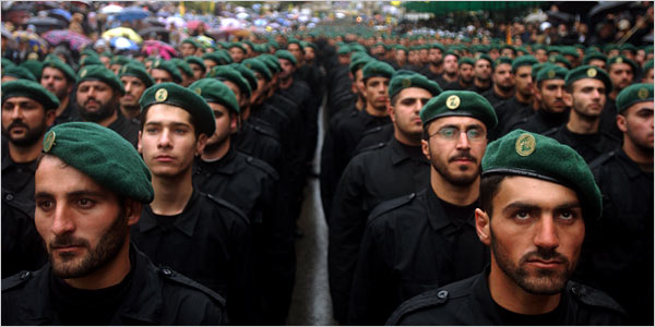 Hezbollah soldiers paraded in southern Lebanon in 2002
